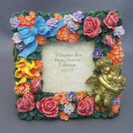victorian rose photo frame rect 35 x 5